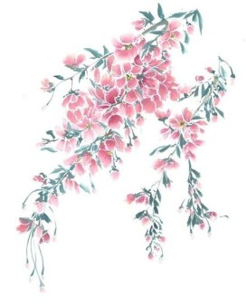 Brush painted cherry blossoms